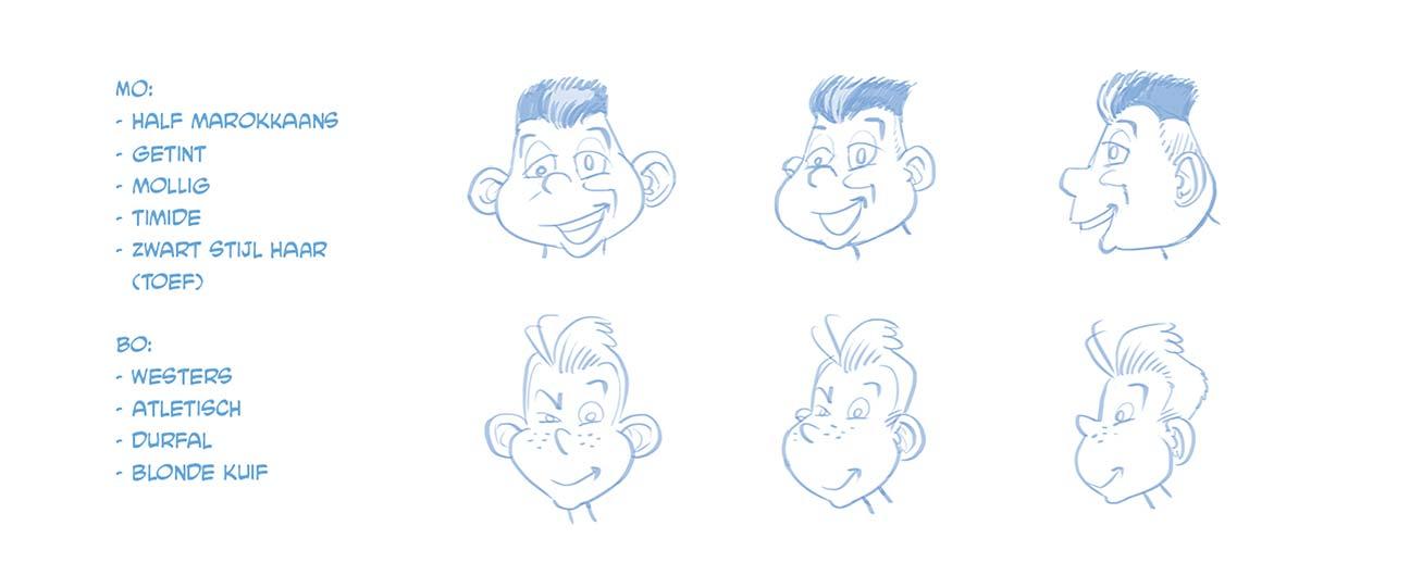 De eerste schetsen voor Mo en Bo