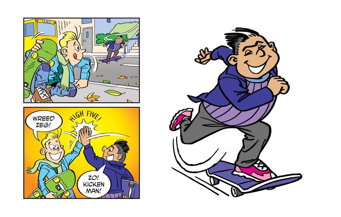 Mo op zijn skateboard
